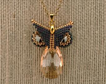 jewelry Necklace Swarovsky crystals necklace Sparkle Owl necklace