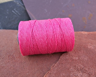 4 Ply Fuchsia Waxed Irish Linen Thread 10 Yards rustic WIL-4,fuchsia linen thread,irish linen thread,pink linen thread,hot pink linen cord