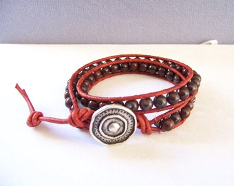 Red Jasper Beaded Wrap Bracelet