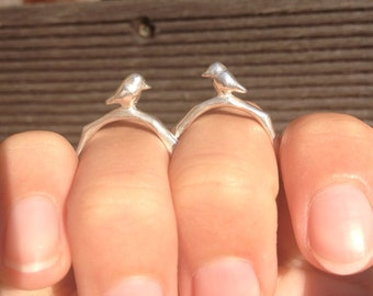 Little bird twig ring. Branch ring. Sterling silver