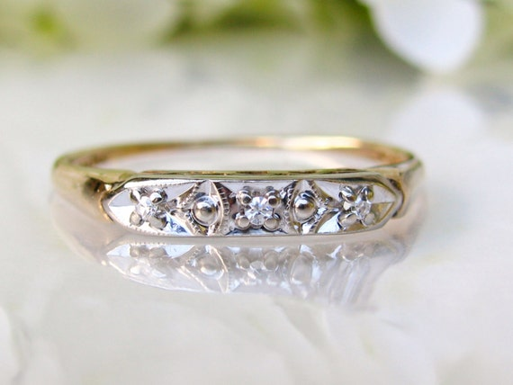 antique keepsake diamond wedding ring 14k two tone gold
