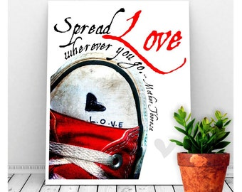 Love Art, Mother Theresa Quote with Red Sneaker, Instant Download, Printable Art