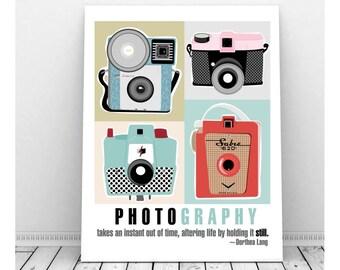 Vintage Camera Art, Instant Digital Art Print, Photography Art, Wall Decor, Retro Camera, Brownie Camera, Dorthea Lang, Instant Download