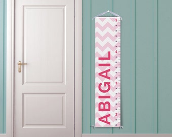 Modern Pink Chevron - Personalized Growth Chart - Nursery Decor