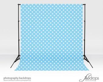 Vinyl Photography Backdrop Polka Dots - Baby Blue (FD2112)