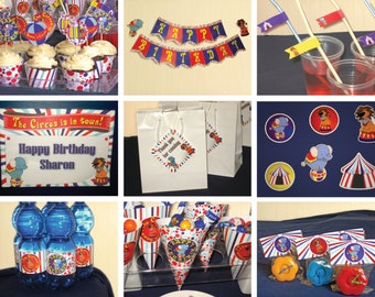 Circus Birthday Party theme – DIY Mini Package Printable - Personalized
