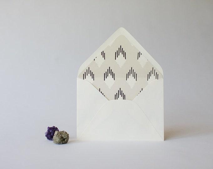 gray ikat lined envelopes - sets of 10