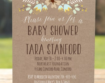Rustic Baby Shower Invitation, Burlap Baby Shower Invite Printable Fall Baby  Invitation, Autumn Baby