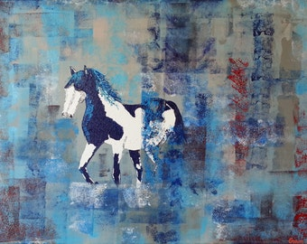 "Stallion - Original Impasto Abstract Heavybody Acrylic Painting - ""Battle Shield"""