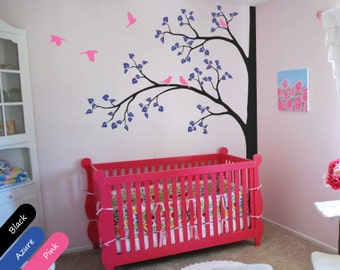 Tree wall decal Stunning Corner Decal with flying birds and leaves for baby's room - Wall Mural Sticker Nursery Tree Wall Decal - 011
