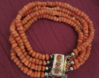 Antique, Victorian 14k gold Dutch 4 strands coral bracelet, ca 1840 - 1860, blood coral