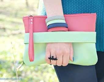 "Mint clutch ""CarryMe"", purple purse, vegan leather, mint clutch, pink purse, mint purse, pink clutch, vegan bag"