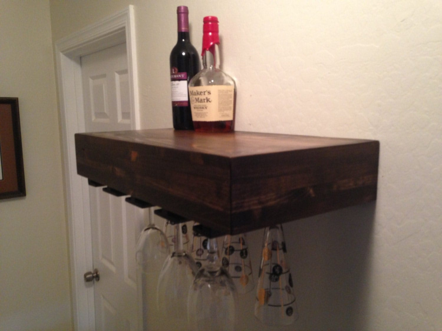 floating shelfwine glass rack wine glass by azdesertwood. Black Bedroom Furniture Sets. Home Design Ideas