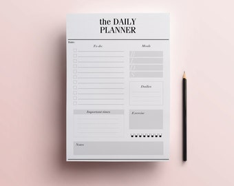 Daily Planner Printable - Stylish To Do List, Day Organizer, A4/A5 Desk Planner, Minimal Planner, Black and White Planner, INSTANT DOWNLOAD