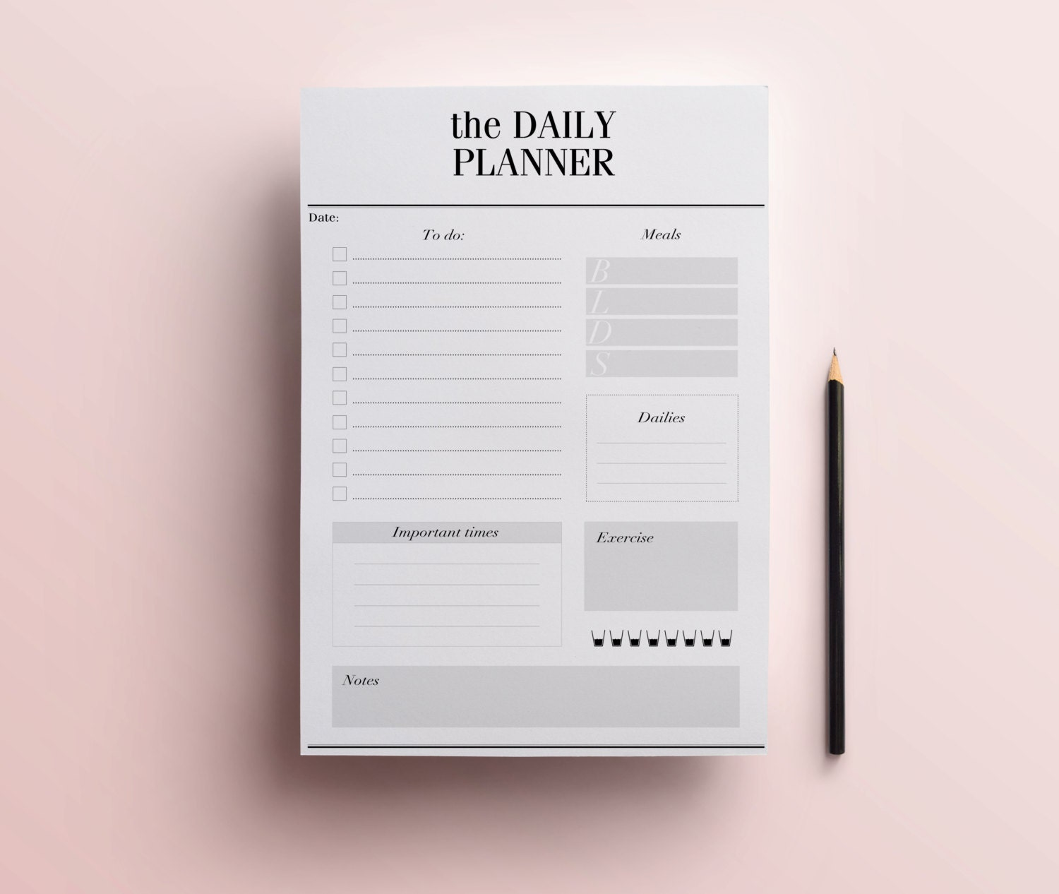 Daily Planner Printable Stylish To Do List Day Organizer