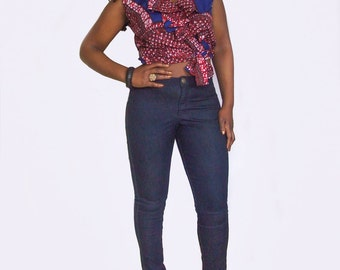 Handmade Red White & Blue African Print Wrap Frill Sleeveless Blouse Top - available in 4 sizes