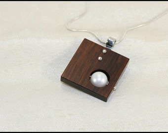 Sterling silver necklace, Square necklace brown, Square pendant, Square silver pendant with white pearl and brown wood, Wooden jewelry