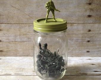 Army Man Mason Jar