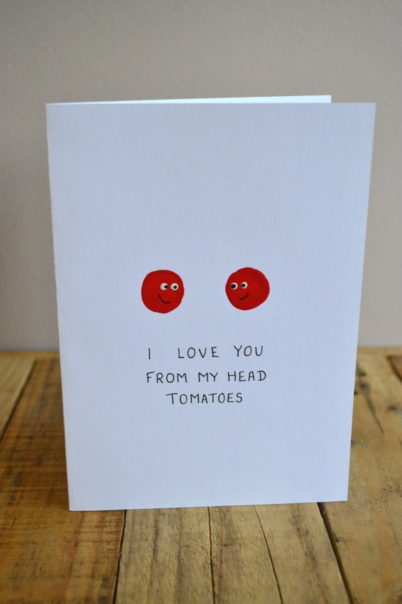 Items similar to handmade i love you from my head for What to put on a valentines card