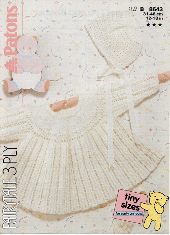 Knitting Pattern Angel Top : baby dress knitting pattern angel top & bonnet baby girls ...