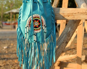 Boho  fringed leather bag, festival handbag,  native american inspired  purse, handmade, bohemian