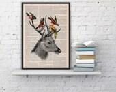 Deer head on Upcycled Book page Print Vintage Art Print Deer head with birds BPAN040b