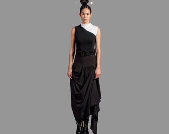 Black Bustle Maxi Flattering Drape Skirt