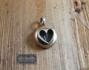 Silver Heart Charm, .925 Sterling Silver Stamped Heart Charm, Small Heart Pendant, 7mm Round Charm, Jewelry Supplies (Ch-160)