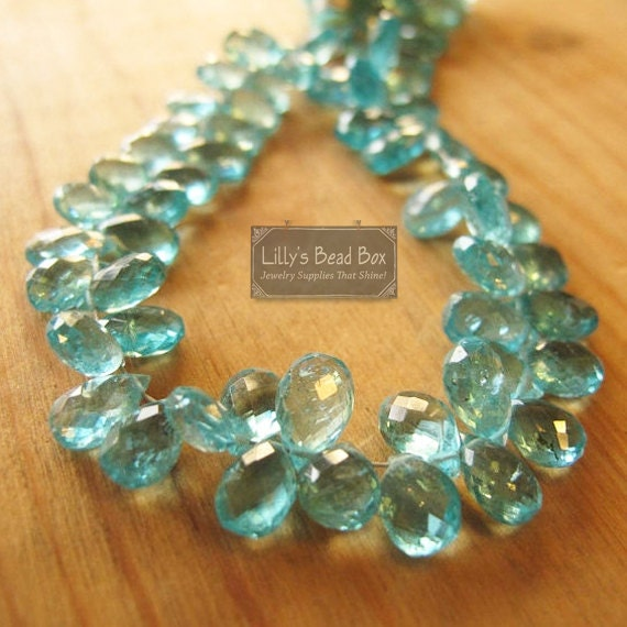 Aqua Apatite Beads, Four Inch Strand of Faceted Briolette Pears, 37 Gemstones, 7mm x 4.5mm - 10mm x 5.5mm (B-Ap1)