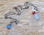 SALE, Tiny Labradorite Necklace in Sterling Silver, Labradorite Pendant, Everyday Jewelry, Layering Necklace