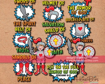 Instant Download The Armor of God Clip Art- PNG and JPEG files - Personal, Nonprofit Use Only.