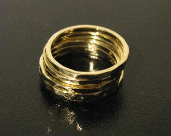 Skinny Gold Hammered Stacking Ring or Wedding Band 14K, 18K, or 22K Matte or Shiny All Sizes & Colors