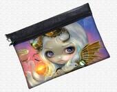 Windswept, Steampunk Fairy, zippered pouch art supply bag wristlet, travel bag,