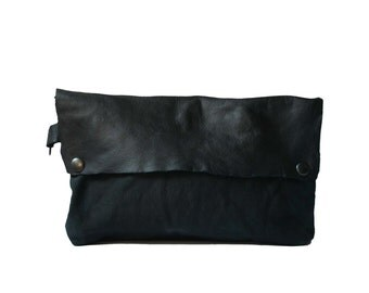 Black Clutch Handbags / Printed Pouch / Wristlet Clutch Bags / Leather Canvas Pouch
