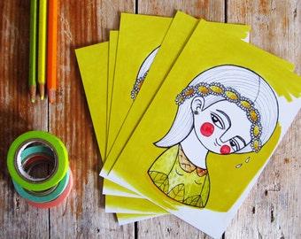 Daisy postcards set of 5 yellow illustration