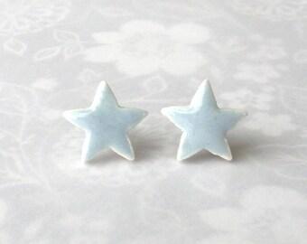 Small Porcelain Earrings. Light Blue Stars. July 4th Earrings. Light Blue-Gray. Alice Blue. Ice Blue. Stud Earrings. Surgical Steel. Simple