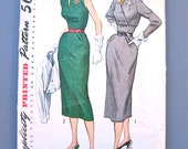 Vintage 1950s Simplicity 8473 Wiggle Dress Pattern Slim Skirt Tailored Dress Collar Sleeveless Sleeves Belted Sewing Bust 34 inches