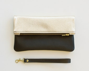 Platinum Leather Fold Over Clutch, Metallic Platinum Leather Fold Over Wristlet, Pale Gold Wedding Clutch, Evening Clutch, Bridal Clutch