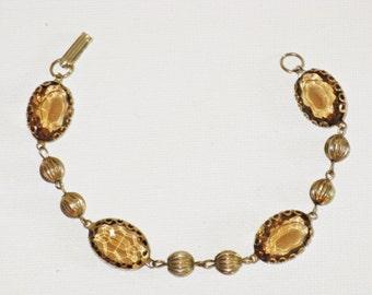 Vintage Amber Glass Panel Link Bracelet (BR-1-1)