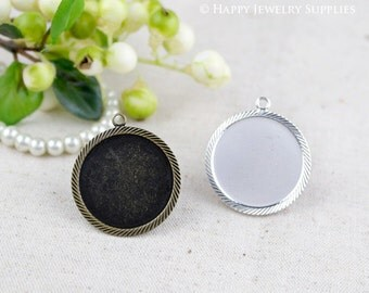 Last- 50% off - 20 Pieces High Quality Antique Bronze / Silver Plated 25mm Cabochon Pendant Base with Loop (ZD166/ZD166-S)