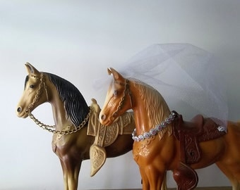 Bride and Groom Bohemian Sweethearts of the Rodeo. Rustic Boho Romance Wedding.Cowboy Cowgirl Style. Vintage Collectible Horse FIgurines.