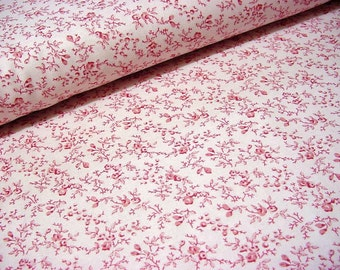 Sweet Bed of Roses Fabric -Ro Gregg Tiny Rosy Red Roses and Rosebuds Floral on Pale Pink Cotton Material OOP Northcott 2950 Quest for a Cure