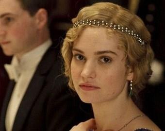 ORIGINAL 1920s Headband, Downton Abbey Bridal Hair Accessory, Art Deco Hairpiece Great Gatsby Rhinestone Chain Vintage Flapper Forehead Halo