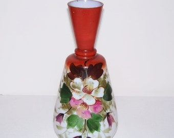 Hand Painted Victorian Art Glass Vase - Antique Glass Vase - Flowers  (542-2)