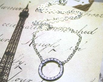 Blue Swarovski Crystal Eternity Ring Pendant - Channel Set Rhinestone Circle Necklace - Sterling Silver