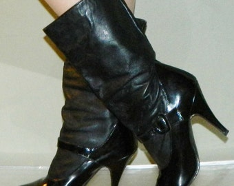 vintage 80s boots 6.5 SEXY steampunk mary janes boots WILD PAIR