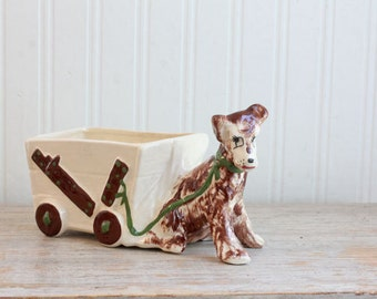 Vintage Dog Planter, 1950s Terrier Dog with Cart Planter,  Kitsch Dog Figurine, Of Ceramics, Hollywood Calif USA, Cream Brown Green