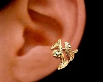 Small Art Nouveau flower ear cuff Gold earrings Art Nouveau jewelry Art Nouveau earrings Art Nouveau ear cuff clip Gold ear cuff C-139G,