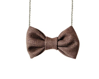 Dark Brown Herringbone - Bow Tie Necklace PreTied BowTie for Women and Girls
