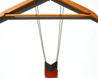 Chevron Necklace, Casual Necklace, Leather Necklace, Long Necklace, Chevron, Leather, Boho, Casual Jewelry (1453)